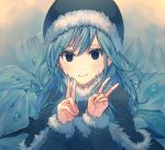 1girl bangs black_capelet black_headwear blue_eyes blue_hair blush capelet closed_mouth double_v fairy_tail floating_hair fur-trimmed_capelet fur-trimmed_hat fur-trimmed_sleeves fur_trim hat highres juvia_lockser long_hair long_sleeves looking_at_viewer smile solo swept_bangs tsurupon upper_body v
