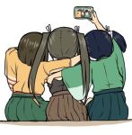 3girls blue_hair brown_hair brown_hakama cellphone cowboy_shot from_behind gradient_hair green_hakama green_kimono grey_kimono hakama hakama_skirt hiryuu_(kantai_collection) holding holding_cellphone holding_phone japanese_clothes kantai_collection kimono koopo long_hair lowres multicolored_hair multiple_girls one_side_up phone self_shot short_hair sitting smartphone souryuu_(kantai_collection) twintails yellow_kimono zuikaku_(kantai_collection)