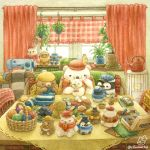 artist_name bear bird blue_headwear bow bowtie character_doll checkered checkered_hat coffee_table couch hanging_plant hat highres indoors needle no_humans original penguin plant polar_bear potted_plant red_bow red_headwear red_neckwear scarf scenery sewing sewing_machine sewing_needle signature st.kuma stuffed_animal stuffed_penguin stuffed_toy teapot teddy_bear twitter_username yellow_headwear