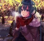 1girl bangs bench beniko_(ymdbnk) black_skirt blue_hair blurry blurry_background breath brown_jacket commentary_request depth_of_field eyebrows_visible_through_hair fur-trimmed_gloves fur-trimmed_jacket fur_trim gloves hair_between_eyes hands_up jacket night on_bench open_clothes open_jacket original outdoors park_bench parted_lips pleated_skirt red_eyes red_gloves red_scarf scarf sitting_on_bench skirt solo tree upper_teeth