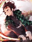 1girl belt belt_buckle black_jacket black_pants blood blood_on_face blurry blurry_background brown_hair buckle checkered clenched_teeth commentary_request depth_of_field earrings facial_scar flaming_sword forehead_scar highres holding holding_sword holding_weapon jacket jewelry kamado_tanjirou katana kimetsu_no_yaiba long_sleeves looking_away pants profile scar solo sword tapioka_(oekakitapioka) teeth torn_clothes violet_eyes weapon white_belt