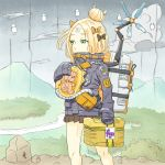 abigail_williams_(fate/grand_order) backpack bag bow bowtie briefcase clouds death_stranding fate/grand_order fate_(series) forest gummy_madacuel hair_bun high_collar highres holding long_sleeves mountain nature nitocris_(fate/grand_order) odradek outdoors parody river rock skirt sky sleeves_past_fingers sleeves_past_wrists strap stuffed_animal stuffed_toy teddy_bear tube