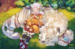 1girl :3 animal animal_ears bodysuit byakko_(xenoblade) cat_ears closed_eyes closed_mouth facial_mark gloves grass hair_ribbon niyah orange_bodysuit orange_ribbon ribbon short_hair silver_hair sitting smile tiger tree twitter_username white_gloves white_tiger xenoblade_(series) xenoblade_2 yagi_(kyuhyun)