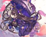 1girl amethyst_(gemstone) bag bangs black_dress blue_bag breasts brown_eyes brown_hair cherry_blossoms closed_mouth coin_purse commentary double_bun dress dutch_angle eyebrows_visible_through_hair eyelashes fate/grand_order fate_(series) floating floating_hair frilled_dress frilled_umbrella frills full_body gem hair_ornament handbag headgear highres holding holding_umbrella impossible_clothes impossible_dress juliet_sleeves kikkaiki large_breasts long_hair long_sleeves looking_at_viewer murasaki_shikibu_(fate) outstretched_arm petals puff_and_slash_sleeves puffy_sleeves purple_umbrella round_window sleeves_past_wrists smile solo striped two_side_up umbrella vertical_stripes very_long_hair wide_sleeves window