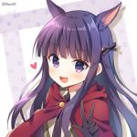 1girl :d animal_ear_fluff animal_ears bangs black_bow black_gloves black_neckwear blush bow brown_vest cloak collared_shirt commentary_request eyebrows_visible_through_hair gloves hair_bow heart hood hood_down hooded_cloak kirihara_kasumi long_hair looking_at_viewer mauve necktie open_mouth princess_connect! princess_connect!_re:dive purple_hair red_cloak round_teeth shirt smile solo teeth twitter_username upper_body upper_teeth vest violet_eyes w white_shirt