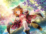 blue_eyes dress ebisu_tsukasa hoodie orange_hair short_hair shoujo_kageki_revue_starlight smile wink