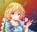 1girl arm_up blonde_hair blue_shirt breasts collarbone commentary_request dragon_horns expressionless eyebrows_visible_through_hair floral_background flower gradient gradient_background hair_between_eyes highres holding holding_pipe horns ikazuchi_akira kicchou_yachie kiseru light_particles lily_(flower) looking_at_viewer medium_breasts petals pipe red_background red_eyes shell shirt short_hair short_sleeves smoke solo touhou upper_body yellow_background