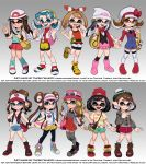 6+girls baseball_cap beanie beret blue_(pokemon) boots company_connection crystal_(pokemon) eyewear_on_headwear fangs female_protagonist_(pokemon_swsh) frilled_shorts frills gradient gradient_background grey_background haruka_(pokemon) hat highres hikari_(pokemon) inkling kotone_(pokemon) looking_at_viewer mei_(pokemon) mizuki_(pokemon) multiple_girls open_mouth overalls pokemon pokemon_(game) pokemon_bw pokemon_bw2 pokemon_dppt pokemon_frlg pokemon_gsc pokemon_hgss pokemon_oras pokemon_sm pokemon_swsh pokemon_xy scarf serena_(pokemon) shoes short_shorts shorts skirt smile sneakers splatoon_(series) standing tam_o'_shanter tentacle_hair theskywaker touko_(pokemon)