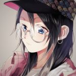 1girl akizuki_hakuto baseball_cap black_hair blue_eyes blurry clothes_writing depth_of_field earrings glasses hair_between_eyes hair_down hat idolmaster idolmaster_shiny_colors jewelry mitsumine_yuika parted_lips portrait round_eyewear simple_background solo white-framed_eyewear