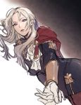 1girl blonde_hair edelgard_von_hresvelg fire_emblem fire_emblem:_three_houses garreg_mach_monastery_uniform gloves hair_ribbon kanapy long_hair long_sleeves pantyhose parted_lips ribbon solo uniform violet_eyes white_gloves