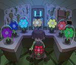 1other :| aqua_flower argyle argyle_background backlighting blue_flower brown_hair brown_pants cage closed_mouth deltarune door expressionless fisheye flower flower_shop glass_container green_flower green_sweater hair_over_eyes hidden_eyes highres houten_(dre_a_mer) kris_(deltarune) orange_flower pants purple_flower red_flower refrigerator shop sitting solo sweater television television_screen yellow_flower