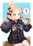 ! 1girl abigail_williams_(fate/grand_order) bangs bendy_straw black_bow black_jacket blonde_hair blue_eyes bow closed_mouth commentary_request crossed_bandaids cup disposable_cup drink drinking_straw eating eyebrows_visible_through_hair fate/grand_order fate_(series) food hair_bow hair_bun heroic_spirit_traveling_outfit highres holding holding_cup holding_food jacket key long_hair long_sleeves looking_away orange_bow parted_bangs pizza sitting sleeves_past_fingers sleeves_past_wrists slice_of_pizza solo spoken_exclamation_mark star usuaji