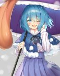 1girl ;d black_ribbon blue_capelet blue_eyes blue_hair blue_skirt blush capelet colored_eyelashes commentary_request cowboy_shot eyebrows_visible_through_hair fur-trimmed_capelet fur_trim hand_in_hair high-waist_skirt holding holding_umbrella karakasa_obake long_sleeves looking_at_viewer motion_blur one_eye_closed open_mouth piyodesu pleated_skirt pom_pom_(clothes) ribbon shirt short_hair skirt smile snowing solo tatara_kogasa tongue touhou umbrella white_shirt