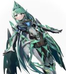 1girl armor bangs blush breasts elbow_gloves epi_zero gem gloves green_eyes green_hair hair_ornament highres jewelry large_breasts long_hair looking_at_viewer medium_breasts pneuma_(xenoblade_2) ponytail shoulder_armor simple_background smile solo spoilers swept_bangs tiara very_long_hair white_background xenoblade_(series) xenoblade_2