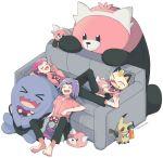 atsumi_yoshioka bewear blue_hair kojirou_(pokemon) musashi_(pokemon) open_mouth pokemon pokemon_(anime) redhead