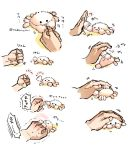 ._. :3 animal animal_focus clenched_hand commentary crab disembodied_limb fluffy nabenko petting punching rock_paper_scissors sequential simple_background smile white_background
