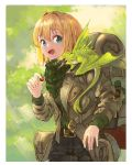 1girl absurdres backpack bag blonde_hair blue_eyes commentary creature eyebrows_visible_through_hair fantasy food fruit highres holding holding_food holding_fruit jacket open_mouth original outdoors scarf short_hair sudzuke