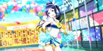 blue_hair blush cheerleader long_hair love_live!_school_idol_festival_all_stars matsuura_kanan ponytail smile violet_eyes
