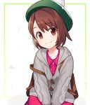 1girl backpack bag bangs blush brown_eyes brown_hair cardigan commentary_request dress eyebrows_visible_through_hair female_protagonist_(pokemon_swsh) gen_8_pokemon green_headwear grey_cardigan hat long_sleeves looking_at_viewer pink_dress pokemon pokemon_(game) pokemon_swsh short_hair simple_background smile solo tam_o'_shanter ud_sari