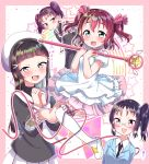 4girls absurdres cardcaptor_sakura cosplay crossover daidouji_tomoyo daidouji_tomoyo_(cosplay) dress fuuin_no_tsue glasses hat highres hime_cut kazuno_leah kazuno_sarah kinomoto_sakura kinomoto_sakura_(cosplay) kurosawa_dia kurosawa_ruby love_live! love_live!_sunshine!! multiple_girls necktie rinne_(mizunosato) saint_snow school_uniform side_ponytail tomoeda_elementary_school_uniform tsukishiro_yukito tsukishiro_yukito_(cosplay) twintails