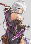 1girl arm_belt bandaged_arm bandages black_legwear blood blood_on_face dagger dual_wielding facial_scar fate/apocrypha fate_(series) from_behind green_eyes grey_hair holding holding_dagger holding_weapon injury jack_the_ripper_(fate/apocrypha) looking_back off_shoulder scar scar_across_eye scar_on_cheek sheath short_hair solo sumisu_(mondo) thigh-highs torn_clothes weapon