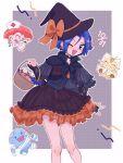 >_< 1boy 1girl 2ameyasan2 blue_hair braid candy crossdressing dated earrings fang food gen_1_pokemon gen_2_pokemon ghost_costume green_eyes halloween halloween_basket halloween_costume hat highres jewelry kojirou_(pokemon) meowth musashi_(pokemon) nurse nurse_cap one_eye_closed pokemon pokemon_(anime) symbol_commentary witch_costume witch_hat wobbuffet