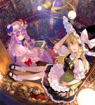 2girls :d apron black_headwear black_skirt blonde_hair blue_bow book bookshelf bow ceiling_light chair closed_mouth commentary_request crescent dress expressionless frilled_dress frilled_shirt frilled_skirt frills fuji_choko hand_up hat holding holding_book kirisame_marisa library long_hair looking_at_viewer mary_janes mob_cap multiple_girls open_book open_mouth patchouli_knowledge purple_hair shirt shoes sitting skirt smile socks table touhou violet_eyes waist_apron white_dress white_legwear white_shirt witch_hat yellow_eyes