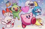 bandana bandana_waddle_dee blue_eyes blush_stickers commentary_request crossover fangs gen_8_pokemon grookey heart highres kirby kirby:_star_allies kirby_(series) monkey no_humans open_mouth pokemon pokemon_(creature) pokemon_(game) pokemon_swsh rabbit red_eyes scorbunny sheep smile sobble star suyasuyabizoy tail tongue tongue_out welsh_corgi wooloo yamper yellow_eyes