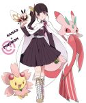 1girl akym animal animal_on_hand black_hair boots butterfly_hair_ornament cape character_name cherrim commentary_request cross-laced_footwear crossover cutiefly full_body hair_ornament highres kimetsu_no_yaiba long_hair lurantis poke_ball pokemon pokemon_(creature) side_ponytail simple_background standing tsuyuri_kanao violet_eyes white_background white_cape white_footwear