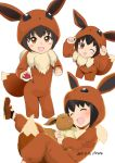 1girl :d black_hair blush brown_eyes brown_footwear child closed_eyes commentary_request cosplay cropped_legs dated eevee eevee_(cosplay) fake_tail fur_trim kigurumi looking_at_viewer mokyutan multiple_views one_eye_closed open_mouth poke_kid_(pokemon) pokemon pokemon_(creature) pokemon_(game) pokemon_swsh short_hair simple_background smile tail white_background