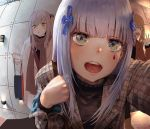 3girls bag commentary_request door eyebrows_visible_through_hair girls_frontline hanbenp highres hk416_(girls_frontline) korean_commentary multiple_girls open_mouth peephole scar scar_across_eye scarf shopping_bag siblings sisters twins ump45_(girls_frontline) ump9_(girls_frontline) waving
