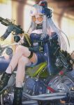 1girl assault_rifle bangs beret blurry blurry_background blush boots breasts choker crossed_legs dress dual_wielding feet_out_of_frame german_flag girls_frontline gloves green_eyes grenade_launcher gun h&k_hk416 hanato_(seonoaiko) hat headgear heart heart-shaped_eyewear heckler_&_koch highres hk416_(girls_frontline) holding jacket long_hair looking_at_viewer magazine_(weapon) mod3_(girls_frontline) name_tag on_motorcycle open_clothes open_jacket parted_lips pleated_skirt purple_dress rifle shoes sidelocks silver_hair sitting skirt snap-fit_buckle solo sunglasses thigh_strap tinted_eyewear trigger_discipline twitter_username weapon white_dress white_gloves