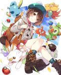 backpack bag boots brown_eyes brown_hair cardigan commentary_request female_protagonist_(pokemon_swsh) gossifleur grookey hat highres poke_ball pokemon pokemon_(game) pokemon_swsh rotom rotom_dex scorbunny skirt smile sobble takuan_(takuan0907) wooloo