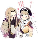 1boy 1girl artist_name black_gloves blonde_hair blue_eyes blush brother_and_sister closed_mouth earrings fire_emblem fire_emblem:_three_houses gloves hat heart jeritza_von_hrym jewelry long_hair long_sleeves mercedes_von_martritz parted_lips short_hair siblings simple_background upper_body white_background yuzuki_n_dash