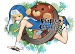 1boy blonde_hair blue_eyes bridget_(guilty_gear) dated fingerless_gloves gloves guilty_gear habit hair_between_eyes happy_birthday highres long_hair male_focus nun open_mouth otoko_no_ko oversized_object smile solo stuffed_animal stuffed_toy teddy_bear twitter_username upper_body wrist_cuffs yo-yo zaki_(narashigeo)