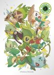 6+others beak bulbasaur chespin chikorita copyright copyright_name fangs flying_kick gen_1_pokemon gen_2_pokemon gen_3_pokemon gen_4_pokemon gen_5_pokemon gen_6_pokemon gen_7_pokemon gen_8_pokemon grookey highres kicking looking_at_viewer multiple_others nintendo official_art pokemon pokemon_(creature) pokemon_trading_card_game red_eyes rowlet simple_background snivy stick tail tentacles treecko turtwig wings