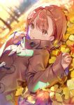 1girl alternate_costume autumn autumn_leaves backlighting bangs blurry blurry_background brown_coat brown_eyes brown_hair buttons coat dot_nose dsmile eyebrows_visible_through_hair field flower hair_between_eyes hair_flower hair_ornament hands_up high_collar long_sleeves looking_at_viewer lying misaka_mikoto on_back open_mouth overcoat parted_lips shiny shiny_hair sleeves_past_wrists solo tareme to_aru_kagaku_no_railgun to_aru_majutsu_no_index tree upper_body wide_sleeves
