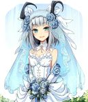 1girl bouquet dragon_girl dragon_horns dress flower gloves green_eyes grey_hair holding holding_bouquet horns key open_mouth rune_factory rune_factory_4 selzawill solo uruu_gekka veil wedding_dress white_dress white_gloves