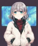 1girl bangs blue_eyes blush earrings eyebrows_visible_through_hair fur_coat grey_hair hands_in_pockets idolmaster idolmaster_shiny_colors jewelry long_sleeves looking_at_viewer red_sweater ribbed_sweater sasasasa serizawa_asahi short_hair solo sweater turtleneck upper_body zipper