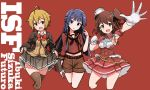 3girls ahoge armpit_cutout armpits beige_cardigan black_neckwear blazer blue_eyes brown_eyes brown_hair brown_jacket brown_legwear brown_sailor_collar brown_shirt brown_shorts brown_skirt cardigan character_name cosplay dress frilled_dress frilled_skirt frills giuseppe_garibaldi_(kantai_collection) giuseppe_garibaldi_(kantai_collection)_(cosplay) gloves hat ibuki_tsubasa idolmaster idolmaster_million_live! jacket kantai_collection kasuga_mirai lifted_by_self long_hair long_sleeves looking_at_viewer mini_hat mogami_(kantai_collection) mogami_(kantai_collection)_(cosplay) mogami_shizuka multiple_girls namesake navel neckerchief one_side_up open_mouth pleated_skirt red_background red_dress red_eyes remodel_(kantai_collection) sailor_collar school_uniform serafuku shirt short_hair shorts skirt skirt_lift suzuya_(kantai_collection) suzuya_(kantai_collection)_(cosplay) thigh-highs tun white_gloves white_headwear