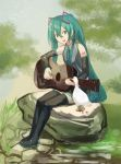 1girl acoustic_guitar animal aqua_eyes aqua_hair aqua_nails aqua_neckwear bare_shoulders bird black_legwear black_skirt black_sleeves commentary day detached_sleeves duck footprints full_body grey_shirt guitar hair_ornament hatsune_miku holding holding_instrument instrument long_hair looking_at_another music nail_polish necktie open_mouth outdoors pikori playing_instrument pond rock shirt shoulder_tattoo sitting skirt sky sleeveless sleeveless_shirt smile tattoo thigh-highs tree twintails very_long_hair vocaloid zettai_ryouiki