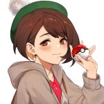 1girl bangs blush brown_eyes brown_hair cardigan creatures_(company) dress eyebrows_visible_through_hair female_focus female_protagonist_(pokemon_swsh) game_freak gen_8_pokemon green_headwear hand_up hat highres kamu_(kamuuei) looking_at_viewer nintendo olm_digital pink_dress poke_ball pokemon pokemon_(anime) pokemon_(game) pokemon_swsh simple_background smug tam_o'_shanter white_background yuri_(pokemon)