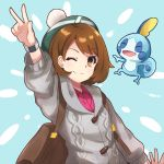 1girl backpack bag bangs blush bob_cut brown_eyes brown_hair cardigan commentary_request dress eyebrows_visible_through_hair female_protagonist_(pokemon_swsh) gen_8_pokemon green_headwear grey_cardigan hat highres long_sleeves looking_at_viewer miltiyo one_eye_closed pink_dress pokemon pokemon_(creature) pokemon_(game) pokemon_swsh short_hair smile sobble tam_o'_shanter v