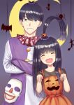1boy 1girl :d ^_^ bangs black_hair black_shirt blue_eyes blunt_bangs blurry blurry_background blush brother_and_sister bug cat closed_eyes collarbone crescent crossed_arms depth_of_field dress eyebrows_visible_through_hair facing_viewer fang go-toubun_no_hanayome grin hair_between_eyes hair_ornament head_tilt jack-o'-lantern jack-o'-lantern_hair_ornament jack-o'-lantern_print long_hair long_sleeves looking_at_viewer mask multicolored multicolored_clothes nyaa28 open_mouth orange_dress pleated_dress print_dress shirt short_sleeves siblings sleeveless sleeveless_dress smile spider uesugi_fuutarou uesugi_raiha very_long_hair