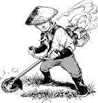 1boy closed_eyes commentary engine grass greyscale hat hikaru_waka888 monochrome old_man original rice_hat sawblade solo weed_whacker