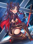 1girl ass bangs black_bodysuit black_hair black_ribbon blue_eyes blush bodysuit breasts commentary_request fate/grand_order fate_(series) hair_ribbon highres horns kaiyi katana multicolored_hair one_knee open_mouth parted_bangs redhead ribbon skin_tight small_breasts solo space_ishtar_(fate) sword torn_bodysuit torn_clothes two-tone_hair two_side_up weapon