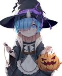 1girl apron ball_and_chain black_dress black_hairband blue_eyes blue_hair blush dress frilled_dress frills hair_ornament hair_over_one_eye hairband halloween_costume hat highres horn looking_at_viewer pumpkin re:zero_kara_hajimeru_isekai_seikatsu rem_(re:zero) short_hair simple_background smile solo soya_(torga) waist_apron white_background wide_sleeves witch_hat x_hair_ornament