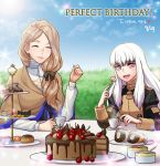 2girls adult blonde_hair blue_sky bow cake cherry closed_eyes clouds cookie cup cupcake cute day drawingddoom eating female fire_emblem fire_emblem:_fuukasetsugetsu fire_emblem:_three_houses food fork fruit garreg_mach_monastery_uniform hair_bow highres holding holding_fork human intelligent_systems koei_tecmo loli long_hair long_sleeves low_ponytail lysithea_von_ordelia macaron mercedes_von_martritz multiple_girls nintendo open_mouth outdoors parted_lips pink_eyes plate sitting sky table teacup uniform white_hair