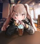 1girl absurdres arm_rest bangs black_jacket blurry blush brown_eyes brown_hair cafe depth_of_field dessert drinking drinking_straw eyebrows_visible_through_hair eyes_visible_through_hair food girls_frontline hair_between_eyes hair_ornament hairclip hairpin hand_on_own_cheek highres indoors jacket long_hair long_sleeves looking_at_viewer pn_pixi shirt sitting solo table two_side_up ump9_(girls_frontline) upper_body white_shirt