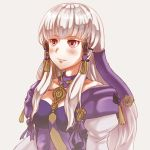 1girl closed_mouth fire_emblem fire_emblem:_three_houses grey_background hair_ornament highres hikaru_no_yuska long_hair lysithea_von_ordelia pink_eyes simple_background solo upper_body white_hair